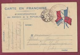 FM 14/18 - 100413 - CARTE EN FRANCHISE 3 Drapeaux - Trésor Et Poste 84 - Cachet 353ème  D'Infanterie - Marcofilia (sobres)