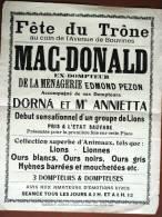 RARE AFFICHE ORIGINALE CIRQUE MENAGERIE DEBUT 20E SIECLE DOMPTEUR MAC DONALD CIRCUS POSTER - Affiches