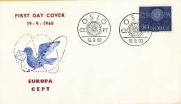 CEPT - FDC Noorwegen - Oslo 19-09-1960 - Michel 449 - 1960
