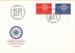CEPT - FDC Zwitserland - Bern 19-09-1960 - Michel 720 - 721 - 1960