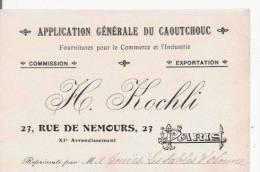 CARTE DE VISITE ANCIENNE H KOCHLI APPLICATION GENERALE DU CAOUTCHOUC 23 RUE DE NEMOURS PARIS - Visiting Cards