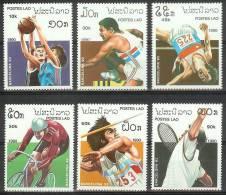 Mua407 SPORT OLYMPISCHE SPELEN TENNIS OLYMPIC GAMES BARCELONA BICYCLE BASKETBALL HIGH JUMP LAOS 1990 PF/MNH - Zomer 1992: Barcelona