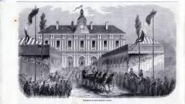 Arras, Réception  De L'Empereur Et De L'Impératrice - Gravure Sur Bois De 1853 - Estampes & Gravures