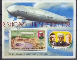 Malagasy-Madagaskar 1976 Zeppelin, Block Gest. Zustand: I-II,  Marken Werden In Klarsichthülle Verschickt. (H) - Madagaskar (1960-...)