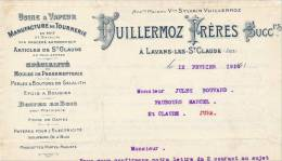 """39 : Facture De La Maison """" Vuillermoz Frères SUCCrs"""" Manufacture De Tournerie , Lavans-les-St-Claude - 1900 – 1949"""