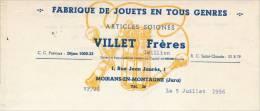 """39 : Facture """" Villet Frères """"  Fondateurs De La Fabrique Des Jouets """" VILLAC """" 1 Rue Jean Jaurès à Moirans En Montagne - Frankrijk"""