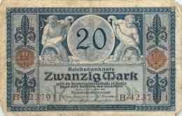 Billet Réf 308. Reichsbanknote Zwanzig Mark - 20 Mark - Allemagne