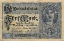 Billet Réf 309. Reichsbanknote 5 Mark - Allemagne