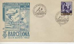 IV EXPOSICION FILATELICA DE NATACION JEUX OLYMPIQUES  BARCELONA  ESPAÑA  1960  MATASELLO    OHL - Zwemmen
