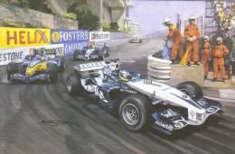 Monaco GP 2005  -  Nick Heidfeld (Williams-BMW) Leads Fernando Alonso (Renault)  -  Art Card By Michael Turner - Motorsport