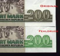 DDR Banknote - 200 Mark Der DDR, Ro. 364a, Fehldruck, Wrong Printing, UNC, 1985 ! - [ 6] 1949-1990 : GDR - German Dem. Rep.