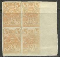 Estland Estonia Estonie 1919 Möwe Seagull Michel 5 In 4-block * - Estland