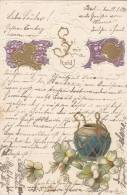 "Präge-LITHO: Goldornamente, Blüten, ""Sei Mir Hold!"", Um 1900 - Fantasia"