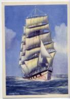Voilier--Quatre Mats Barque Navigant Babord Amure (XX° Siècle)--Illustrateur Signé  Charles Viaud--cpm éd CLIO-- - Sailing Vessels