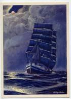 Voilier--Clair De Lune-Le Grand Trois Mats,ses Feux De Position Bien....-Illustrateur Signé Charles Viaud--cpm éd CLIO-- - Sailing Vessels