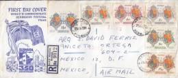 Y) 1959 BERMUDAS, FLAGS LOGO, 350 TH ANIVERSARY BERMUDAS FESTIVAL YAR CONMMEMORATION COAT OF ARMS FDC CIRCULATED TO MEXI - Bermuda