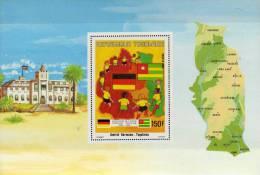 Land-Karte Mit Flagge 1984 Togo Block 233 ** 3€ Kooperation Togolaise-Germany Flag Bloc History Sheet Bf EUROPA-AFRICA - Togo (1960-...)
