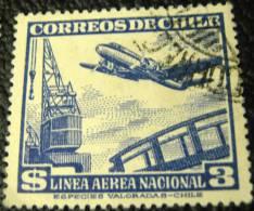 Chile 1950 Aeroplane And Crane $3 - Used - Chile