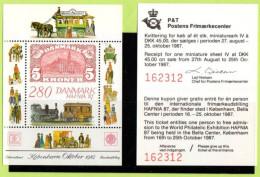 DEN SC #843A MNH SS + Exhibition Ticket  1987 HAFNIA '87, CV $20.00 - Denmark