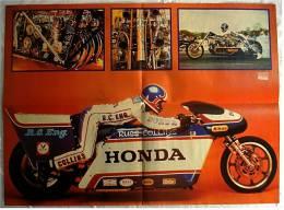 Motorrad Poster :  Honda  -  Rückseite : Band Status Quo  -  Ca. 1982 Aus Der Pop-Rocky - Motorräder