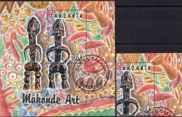 Makonde-Kunst 1992 Tanzania 1444+ Block 208 O 5€ Afrikanische Masken Africana Sculptur Man Bf Bloc Art Sheet Of Tanzanie - Tanzania (1964-...)