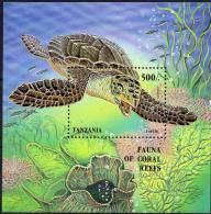 Meeres-Tiere 1993 Tanzania Block 210 ** 8€ WWF Schildkröte In Coral-Reefs Blocchi Bf Bloc Fauna More Sheet Of Tanzanie - Tanzania (1964-...)