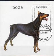 Hunderassen 1993 Tanzania Block 227 O 3€ Dobermann-Pinscher Blocchi Bf Dogs Bloc Fauna Sheet Of Tanzanie - Tanzania (1964-...)