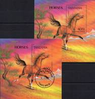 Pferde-Rassen 1993 Tanzania Block 235 ** Plus O 6€ Wildpferd Anglo-Norman Blocchi Bf Horse Bloc Fauna Sheet Of Tanzanie - Tanzania (1964-...)