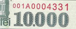 ROMANIA   P108   10.000 LEI   1999 VERY EARLY  Serie 001A0004331      UNC. - Romania