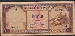 CAMBODIA   P5c     20  RIELS 1956 Signature 8   AVF 2 P.h. ! - Cambodia