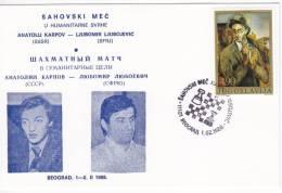 1930. Chess, Yugoslavia, 1988, Chess Match For Charity Karpov - Ljubojevic, Commemorative Card - Schaken