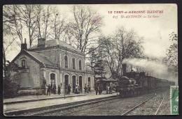 CPA ANCIENNE- FRANCE- SAINT-ANTONIN (82)- LA GARE- COTÉ INTERIEUR GROS PLAN- TRES BELLE ANIMATION- LOCOMOTIVE A VAPEUR - Saint Antonin Noble Val