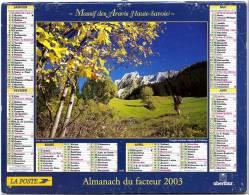 CALENDRIER MASSIF DES ARAVIS & LAC BEI DEN 7 QUELLEN ALLEMAGNE 2003 AVEC FEUILLET LOT ET GARONNE - Calendars