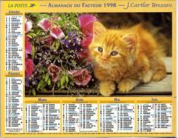 CALENDRIER ORIGINAL CHAT 1998 AVEC FEUILLET LOT ET GARONNE - Calendari