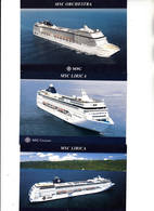 Schepen Ships Bateaux MSC Cruises Lot Met 6 Kaarten Van Cruise Schepen Rederij MSC - Passagiersschepen