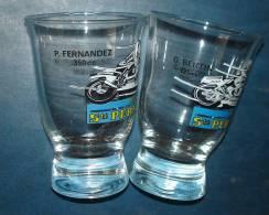 Lot De 2 Verres ECURIE STE PERNOD.P.Fernandez 350 Cc,G Bertin 125 Cc.Motos - Glasses
