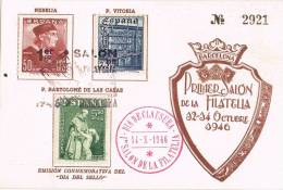 2913. Tarjeta Privada Salon Filatelia Barcelona 1946, DIA De CLAUSURA - 1931-Today: 2nd Rep - ... Juan Carlos I