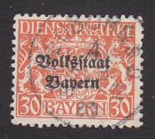 Bavaria, Scott #O27, Used, Cot Of Arms Overprinted, Issued 1918 - Bavaria