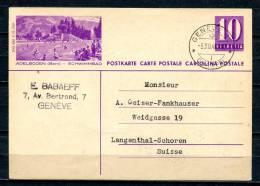 "Schweiz 1940Bildpostkarte Mi.Nr.P167 I,10 Rappen,lila""Adelboden-Schwimmbad"" Bef.""Geneve-Langenthal-Schoren ""1 GS Used - Interi Postali"