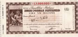 BUONO POSTALE FRUTTIFERO /  LIRE 1.000.000  - Frazionario 43/168  _ Annullato - Azioni & Titoli