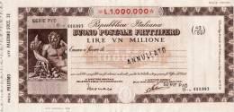 BUONO POSTALE FRUTTIFERO /  LIRE 1.000.000 -  Sovrastampato Serie P/O - Frazionario 43/169  _ Annullato - Azioni & Titoli