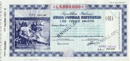 BUONO POSTALE FRUTTIFERO /  LIRE 5.000.000 -  Sovrastampato Serie AB/AA - Frazionario 43/75  _ Annullato - Azioni & Titoli