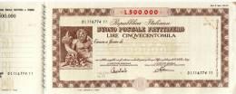 BUONO POSTALE FRUTTIFERO /  LIRE 500.000 CON MATRICE - Frazionario 43/3 - Azioni & Titoli