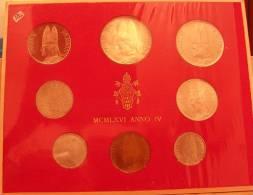 Vatican PAPAL  PAUL VI FOLDER 1966   8 COINS UNC 1 SILVER 500 LIRE RARE - Vatican