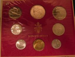 Vatican PAPAL  PAUL VI FOLDER 1967   8 COINS UNC 1 SILVER 500 LIRE RARE - Vatican