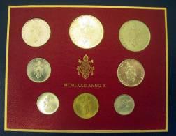 Vatican PAPAL  PAUL VI FOLDER 1972  8 COINS UNC 1 SILVER 500 LIRE RARE - Vatican