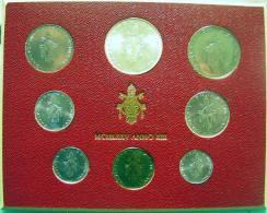 Vatican PAPAL  PAUL VI FOLDER 1975  8 COINS UNC 1 SILVER 500 LIRE RARE - Vatican