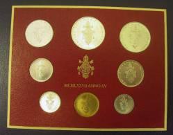 Vatican PAPAL  PAUL VI FOLDER 1977  8 COINS UNC 1 SILVER 500 LIRE RARE - Vatican