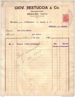 ITALIE - MESSINE - GIOV. RESTUCCIA & CO - FACTURE + MANDAT - 1919 - Italie