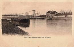 CPA - GRAY 70 Haute Saône -  Le Pont Suspendu Et Le Port Villeneuve  - Edit.- Lib. A. Bergeret - Gray